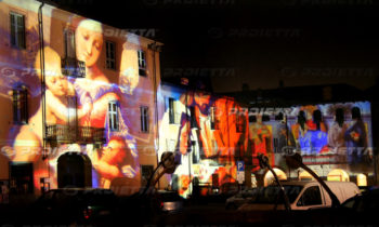 Projection of sacred images on large facades