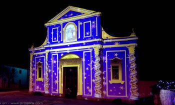 Illuminated church with mapped projection