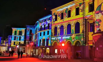 Illuminated facades with mapped projection