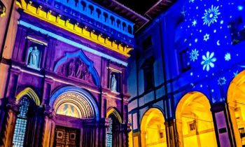 Illuminated facade with mapped projection