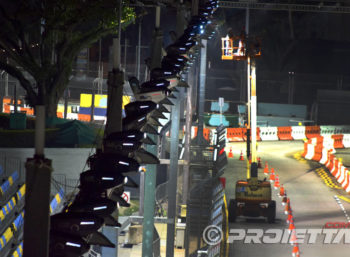 Singapore: projectors used to illuminate the main buildings around the track